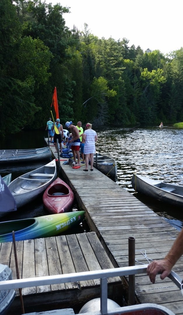 Tie up here at the end of Rollway Resort's Au Sable River canoe trips.