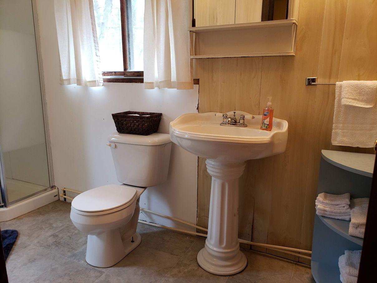 Large Cabin Bathroom: Rollway Resort, Huron National Forest